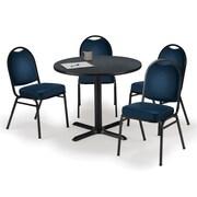 "KFI 42"" Round Graphite Nebula HPL Table with 4 Navy Vinyl Stack Chairs (42R025GRIM52NYV)"
