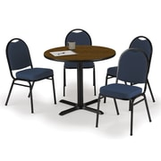 "KFI 36"" Round Walnut HPL Table with 4 Navy Blue Fabric Stack Chairs (36R025WLIM52BLF)"