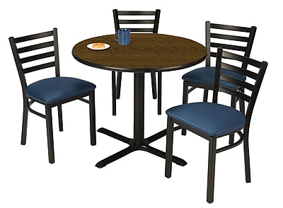 "KFI 36"" Round Walnut HPL Table with 4 Navy Vinyl Cafe Chairs (36R025WLIM316NV)"
