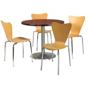 """KFI 36"""" Round Mahogany HPL Table with 4 Natural Bentwood Cafe Chairs (36R192SMH3888NA)"""