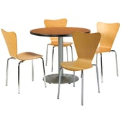 """KFI 36"""" Round Medium Oak HPL Table with 4 Natural Bentwood Cafe Chairs (36R192SMO3888NA)"""