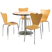 "KFI 36"" Round Natural HPL Table with 4 Natural Bentwood Cafe Chairs (36R192SNA3888NA)"