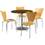 "KFI 42"" Round Walnut HPL Table with 4 Natural Bentwood Cafe Chairs (42R192SWL3888NA)"