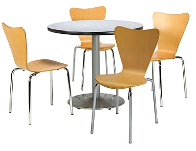"""KFI 42"""" Round Grey Nebula HPL Table with 4 Natural Bentwood Cafe Chairs (42R192SGN3888NA)"""