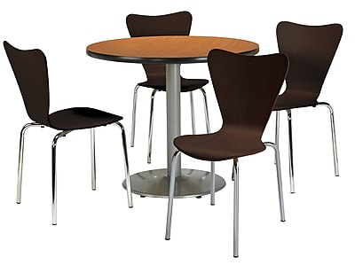 """KFI 36"""" Round Medium Oak HPL Table with 4 Espresso Bentwood Cafe Chairs (36R192SMO3888ES)"""