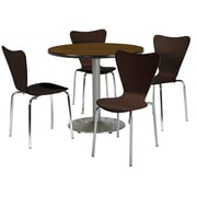 "KFI 42"" Round Walnut HPL Table with 4 Espresso Bentwood Cafe Chairs (42R192SWL3888ES)"