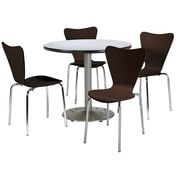 "KFI 42"" Round Grey Nebula HPL Table with 4 Espresso Bentwood Cafe Chairs (42R192SGN3888ES)"