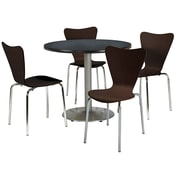 "KFI 42"" Round Graphite Nebula HPL Table with 4 Espresso Bentwood Cafe Chairs (42R192SGR3888ES)"