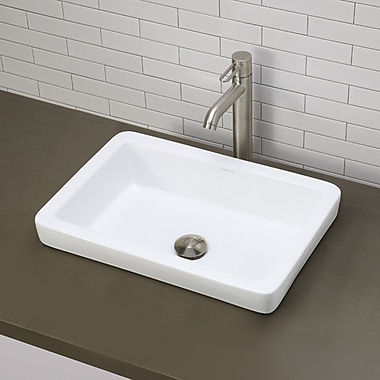 DecoLav Ambre Classically Redefined Semi Rectangular Vessel Bathroom Sink