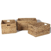 AdecoTrading 3 Piece Seagrass Plain Basket Set