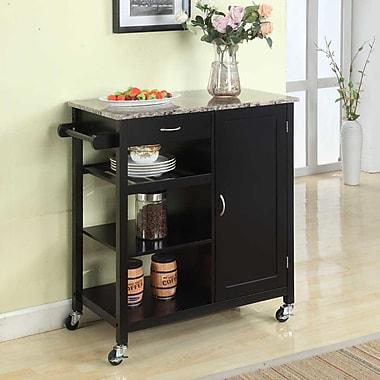 Red Barrel Studio Roselle Kitchen Cart w/ Faux Marble Top; Black