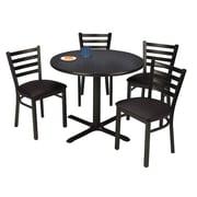 "KFI 42"" Round Graphite Nebula HPL Table with 4 Black Vinyl Cafe Chairs (42R025GRIM316BV)"