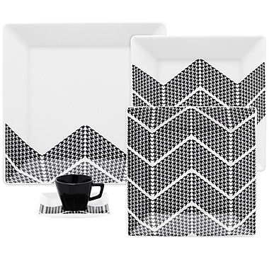 Oxford Porcelain Quartier Pied 20 Piece Pied Dinnerware Set, Service for 4