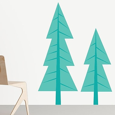 Sunny Decals 2 Piece Modern Pine Tree Wall Decal Set; Teal