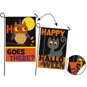 Evergreen Enterprises, Inc Halloween Owl and Cat 2-Sided Fabric 1.5' x 1' Garden Flag