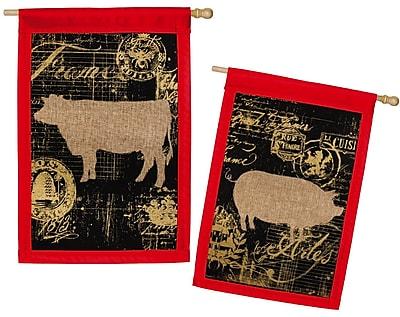 Evergreen Enterprises, Inc Burlap Elegant Farm House Pig and Cow Garden Flag