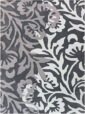 AMER Rugs Bombay Hand-Tufted Black/Gray Area Rug; Rectangle 5' x 8'