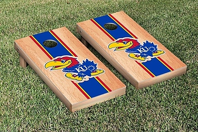 Victory Tailgate Stripe Hardcourt Version Cornhole Game Set; Kansas KU Jayhawks