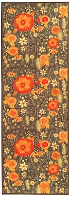 sweet home stores Sweet Home Floral Brown Area Rug; 1'8'' x 4'11''