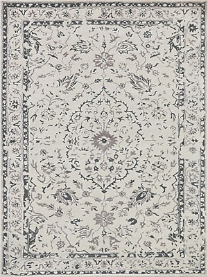 AMER Rugs Artist Hand-Tufted White and Silver Area Rug; Rectangle 8' x 11'