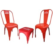 LeighCountry Coca-Cola Retro Caf  3 Piece Bistro Set