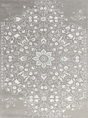 AMER Rugs Artist Hand-Tufted Silver/White Area Rug; Rectangle 8' x 11'