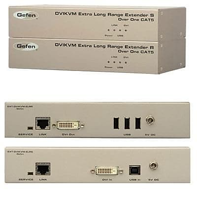 Gefen® 330' Extra Long Range Rack-Mountable KVM Extender for DVI and USB Over Cat5 Cable