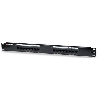 INTELLINET® 513548 16 Port Cat5e Patch Panel for 110 and Krone Punch-Down Tools