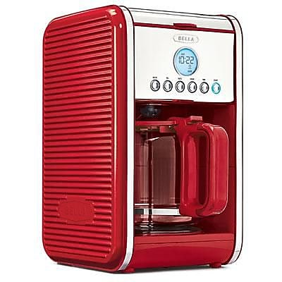 BELLA 14108 Linea Collection 12 Cup Programmable Coffee Maker, Red 2112105