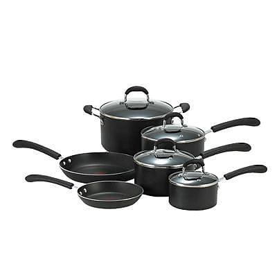 T-fal® Professional Total Non-Stick 10-Piece Cookware Set, Black (E938SA94)