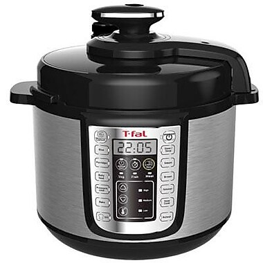 T-fal® 5.3 qt Electric Pressure Cooker, Stainless Steel/Black (CY505E51)