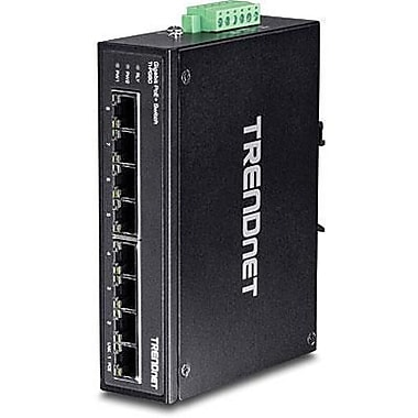 TRENDnet® TIPG80 8 Port Hardened Industrial Gigabit Ethernet Unmanaged PoE+ DIN-Rail Switch