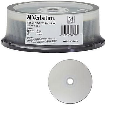 Verbatim® 98917 Blu-Ray Inkjet Recordable Media, Spindle, 25/Pack