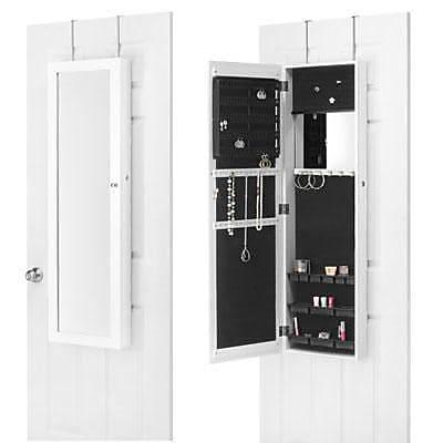 Whitmor Mirrored Over-The-Door Jewelry Cabinet, White (63755957BB)
