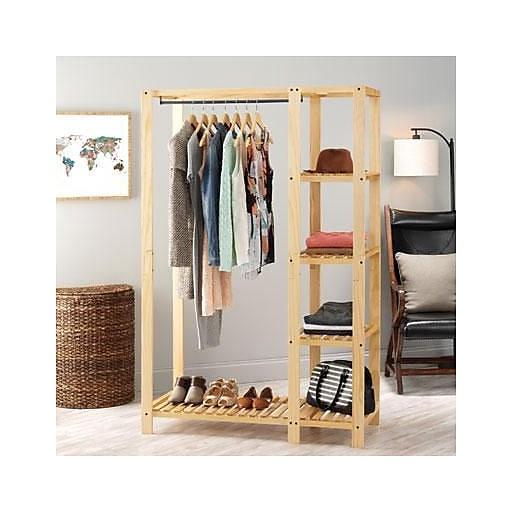 Whitmor Slat Wood Wardrobe Lacquer 6301 5244 Staples