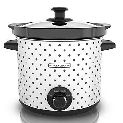 Black & Decker™ 4 qt. Classic Slow Cooker, Black/White Polka Dots (SC1004D)