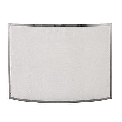 "Blue Rhino® Uniflame® 41"" Curved Single-Panel Fireplace Screen, Pewter (S1613)"