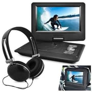 """Ematic EPD116 Portable 10"""" DVD Player with Matching Headphones and Car Headrest Mount, Black"""