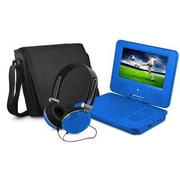 "Ematic EPD707 Portable 7"" DVD Player with Matching Headphones and Bag, Blue"