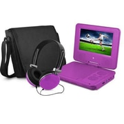 "Ematic EPD707 Portable 7"" DVD Player with Matching Headphones and Bag, Purple"
