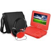 "Ematic EPD707 Portable 7"" DVD Player with Matching Headphones and Bag, Red"
