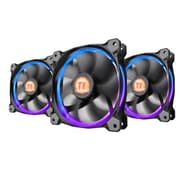 Thermaltake® Riing 12 LED RGB 256 Colors High Static Pressure Radiator Fan, 1500 RPM, 120 mm, 3/Pack (CL-F042-PL12SW-B)