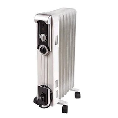 World Marketing Comfort Glow™ 1500 W Stylish Oil Filled Radiator, White/Silver (EOF260)