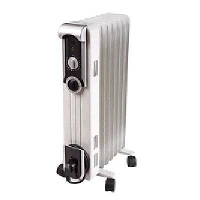 World Marketing Comfort Glow™ 1500 W Stylish Oil Filled Radiator, White/Silver (EOF260)