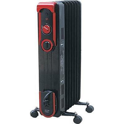 World Marketing Comfort Glow™ 1500 W Stylish Oil Filled Radiator, Black/Red (EOF261)