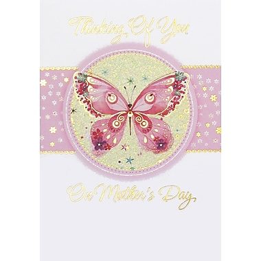 Rosedale Thinking of You on Mother's Day Greeting Card, Pink Butterfly, 12/Pack, (39975)