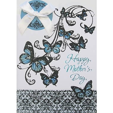 Rosedale Gold Happy Mother's Day Greeting Card, White Bow, 6/Pack, (40036)