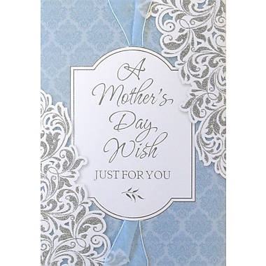 Rosedale Gold A Mother's Day Wish Greeting Card, Blue Damask, 6/Pack, (40037)