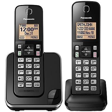 Panasonic KXTGC382B 2-Handset Cordless Phone, Black