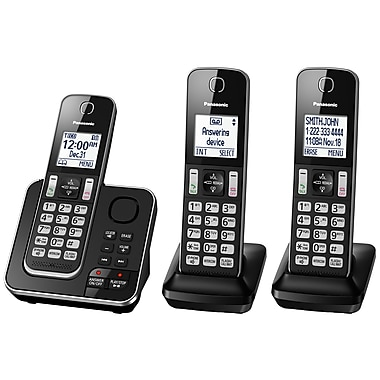 Panasonic – Téléphone sans fil KXTGD393B à 3 combinés avec répondeur, noir
